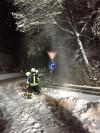 Baum wird von Schnee durch die Feuerwehr befreit